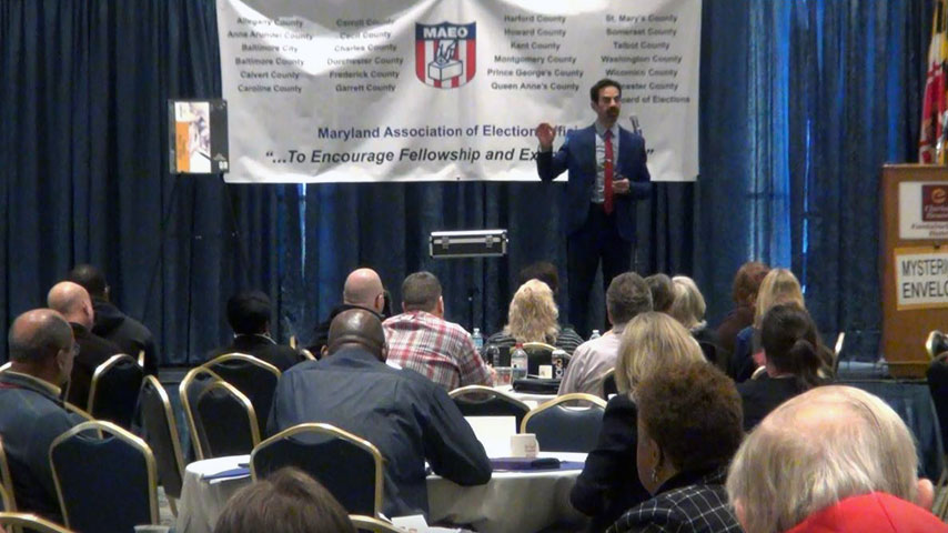 Joshua Lozoff at Maryland Association of Election Officials Annual Conference in Ocean City, MD