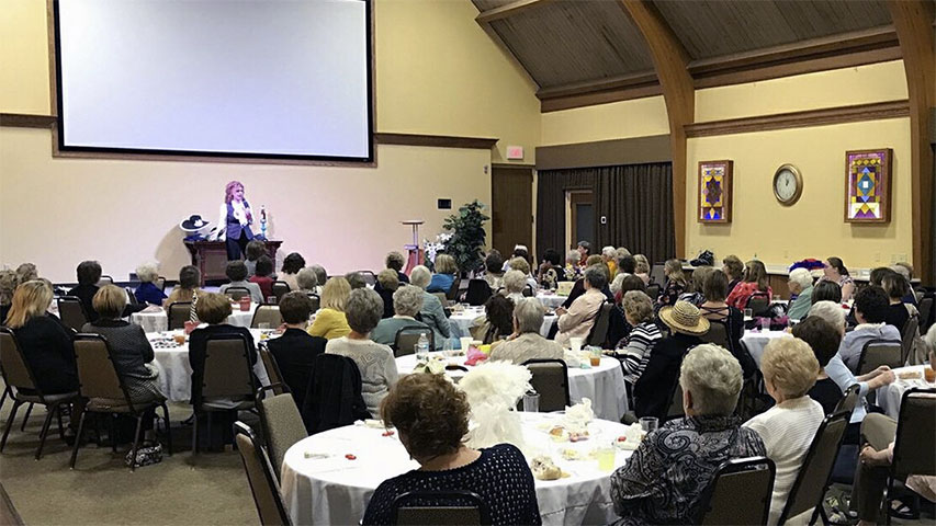 Leslie Norris Townsend at First Baptist Church Women's Tea in Greensburg, IN